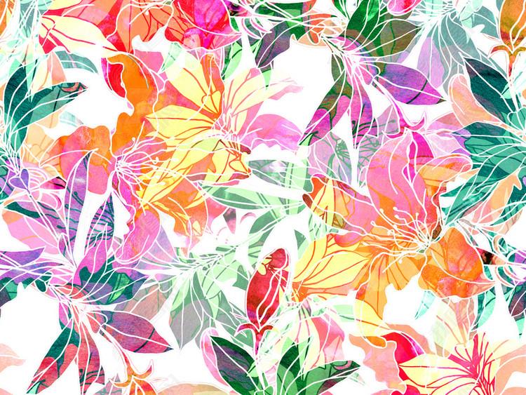 新款手绘高清花卉花纹无缝印花