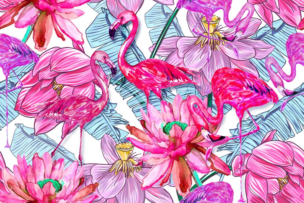新款手绘高清火烈鸟植物叶子无缝印花