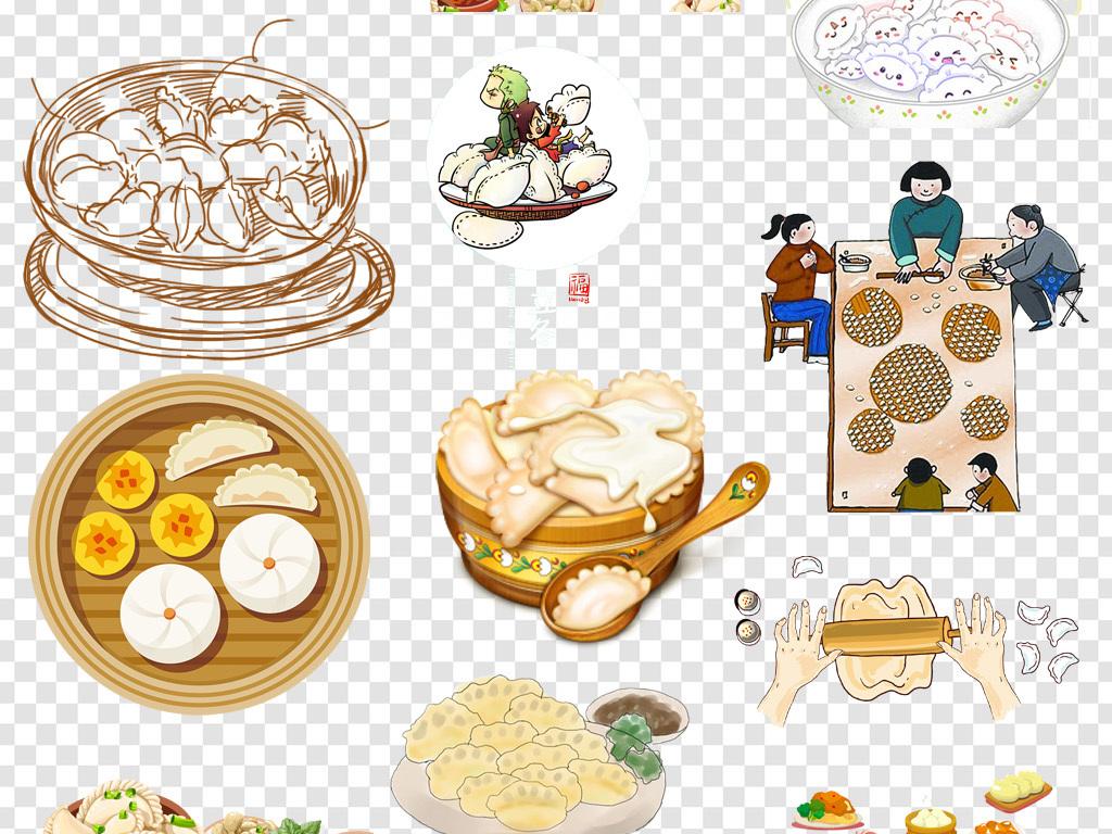 卡通手绘饺子水饺主食png海报素材