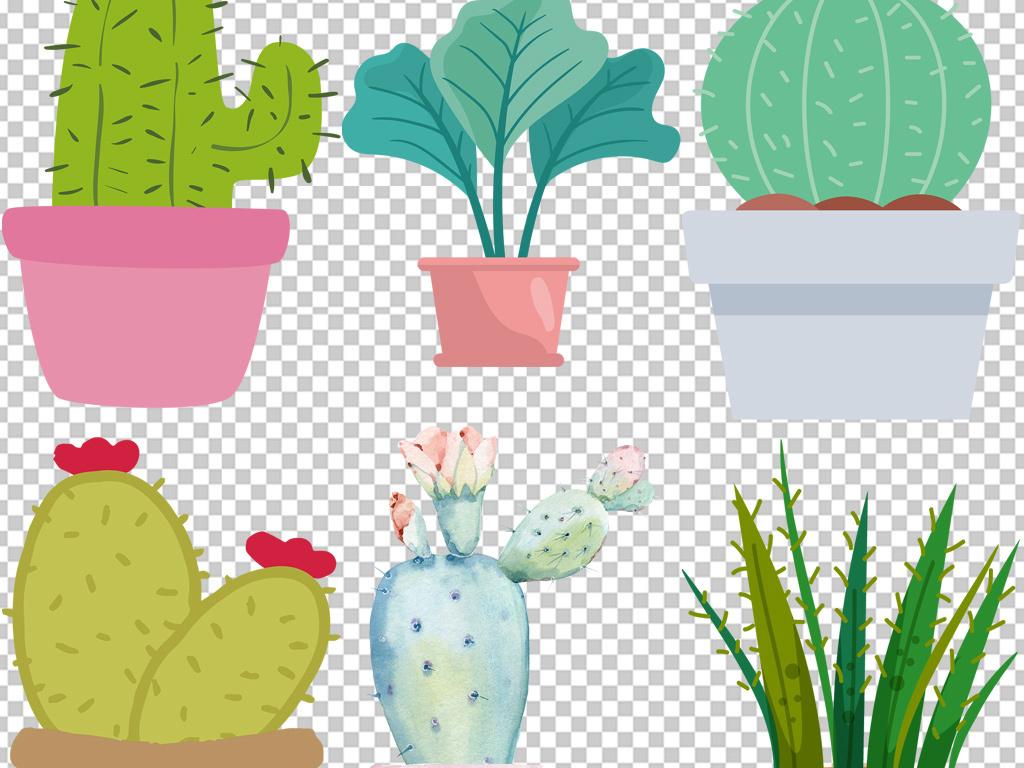 北欧极简手绘多肉植物盆栽装饰画床头画素材