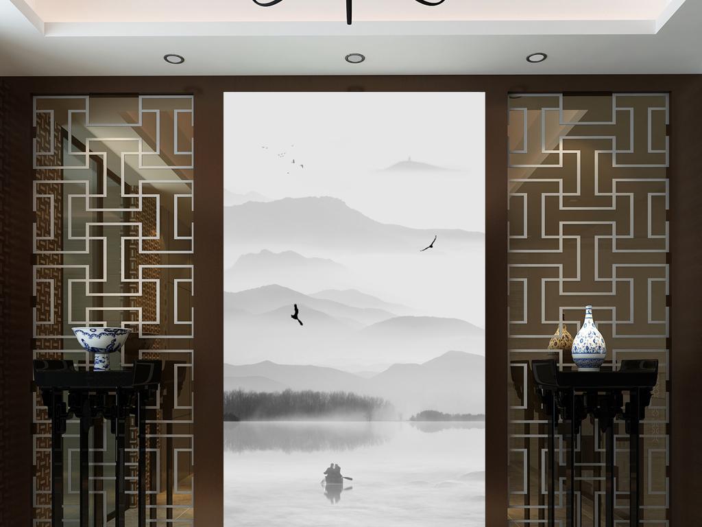 现代时尚新中式意境山水画玄关过道背景墙