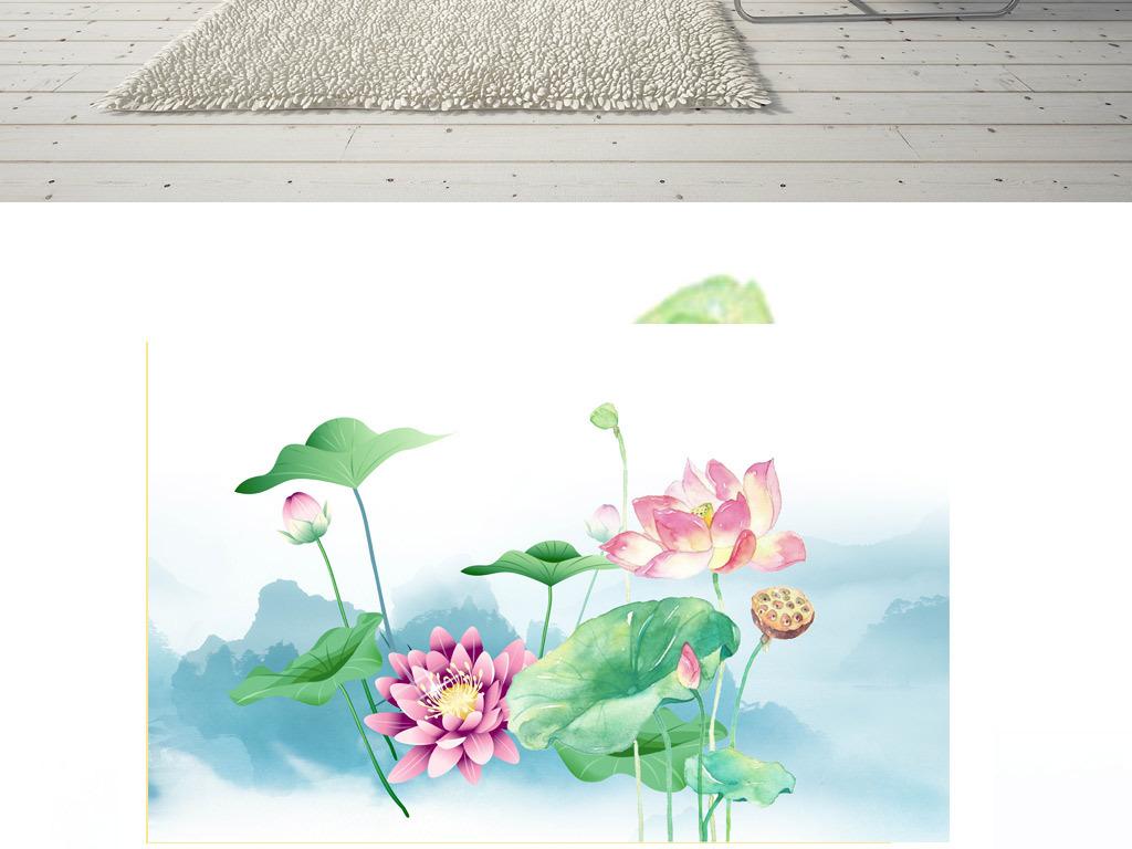 新中式淡雅禅意荷花意境山水壁纸背景墙图片