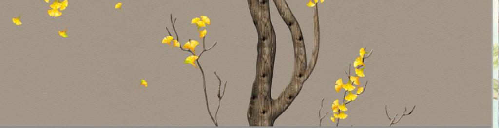 新中式手绘工笔银杏树电视背景墙