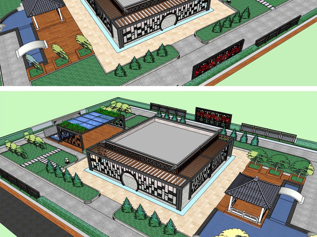 新中式屋顶花园su模型图片