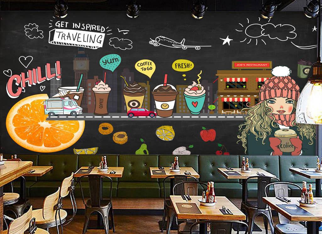 欧美手绘黑板水果咖啡店背景墙