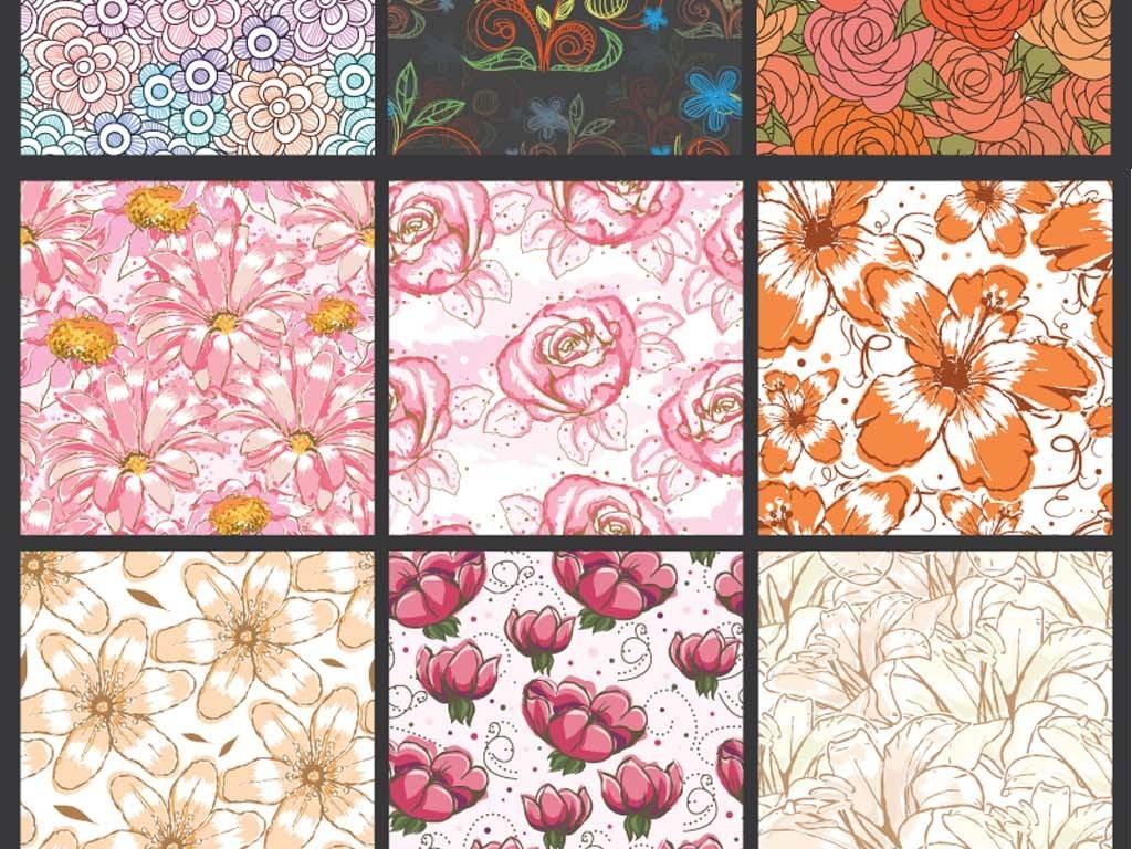 欧式复古典手绘线描花纹花朵无缝平铺背景EPS矢量图素材图片
