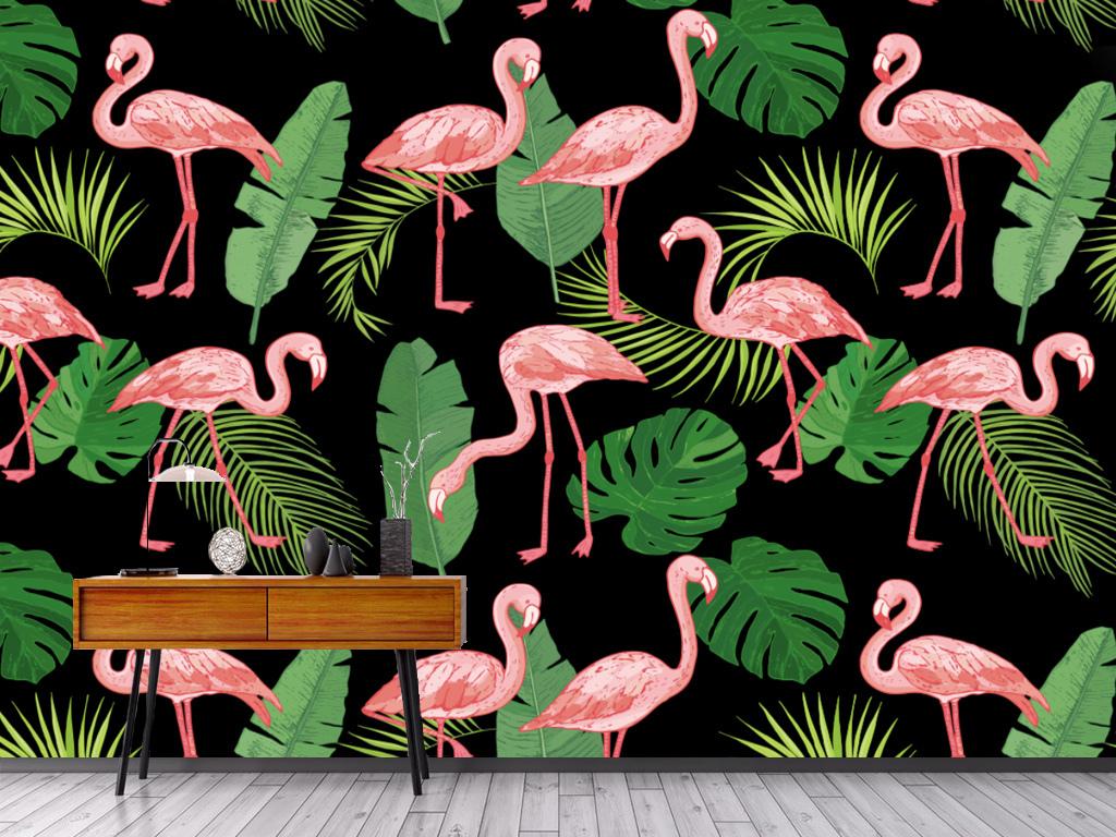 背景墙|装饰画 电视背景墙 手绘电视背景墙 > 北欧抽象火烈鸟芭蕉叶