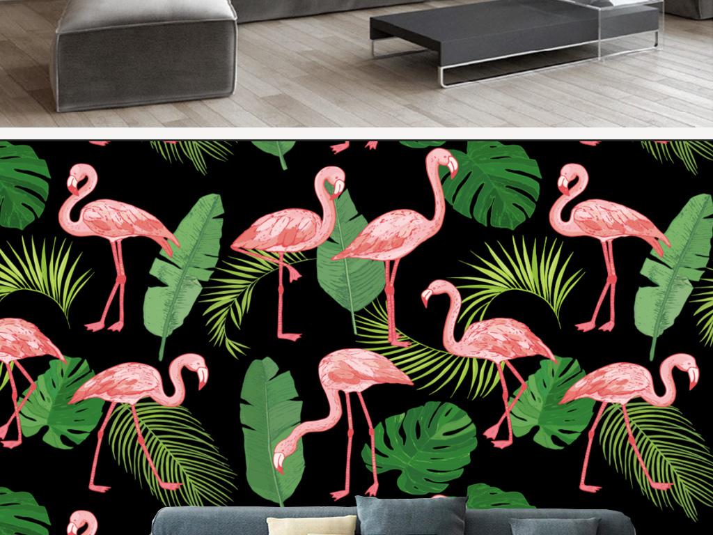 背景墙|装饰画 电视背景墙 手绘电视背景墙 > 北欧抽象火烈鸟芭蕉叶壁