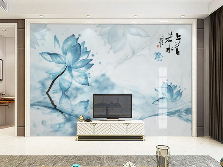 中式雪莲大理石纹水墨荷花电视背景上善若水