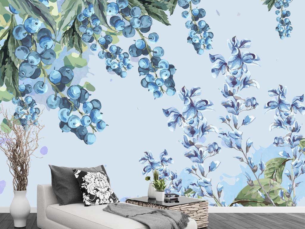 手绘浆果蓝莓电视背景墙田园现代简约背景墙