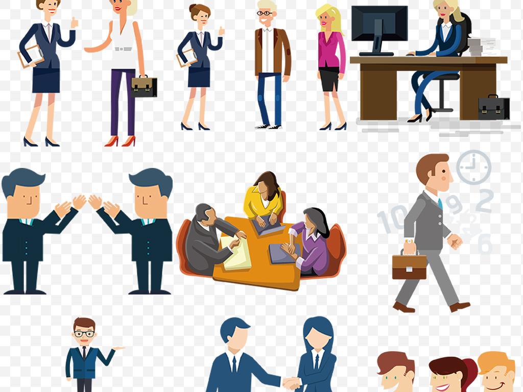 扁平化人物商务人士团队会议开会办公图片