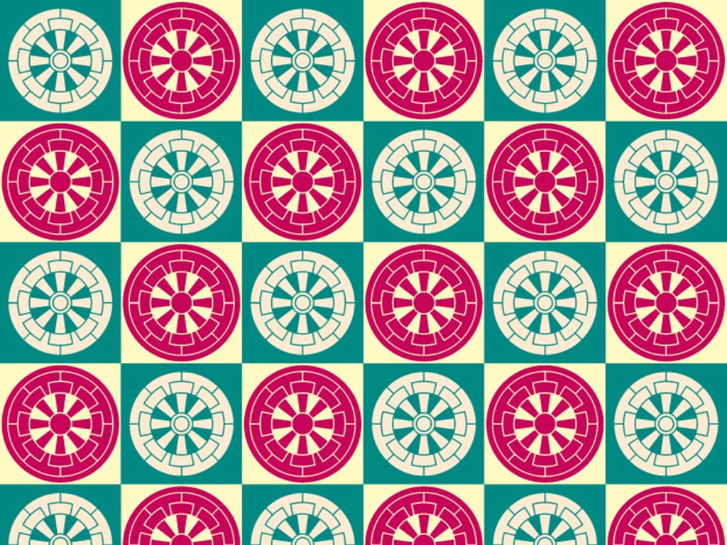 矢量图民族风日本风格圆形正方形色彩满身图案
