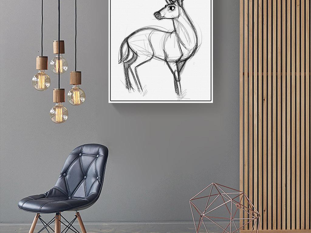 黑白麋鹿梅花鹿简笔画北欧现代简约装饰画