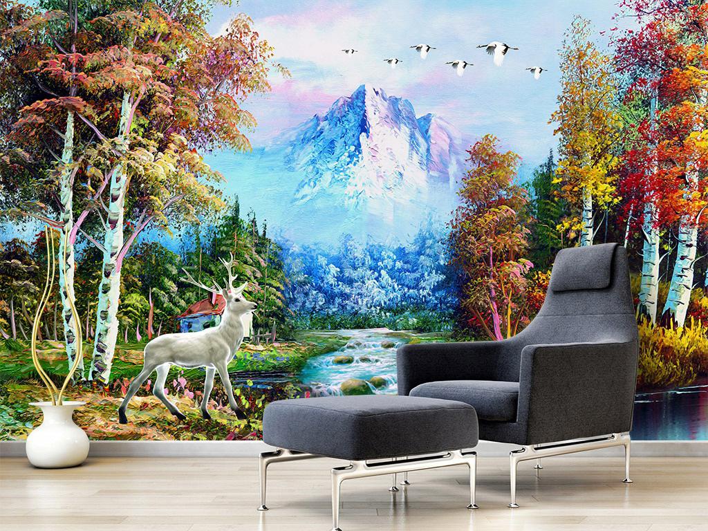 树林瀑布油画风景背景墙壁画