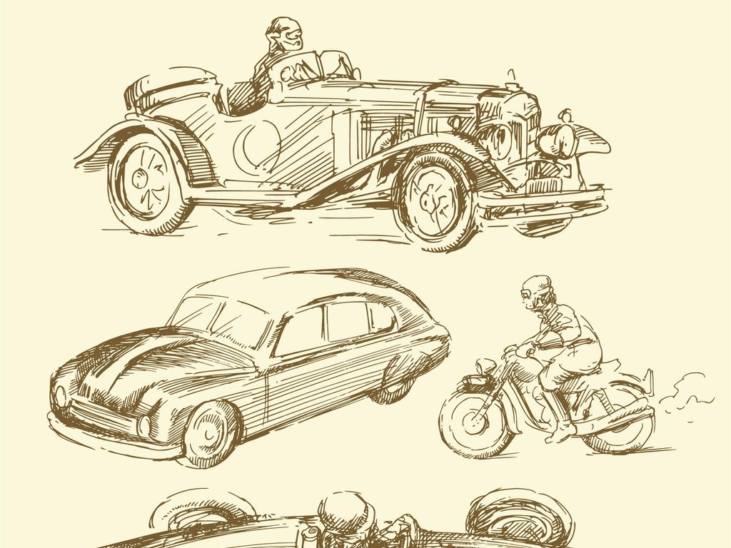 手绘汽车发展历史交通文化