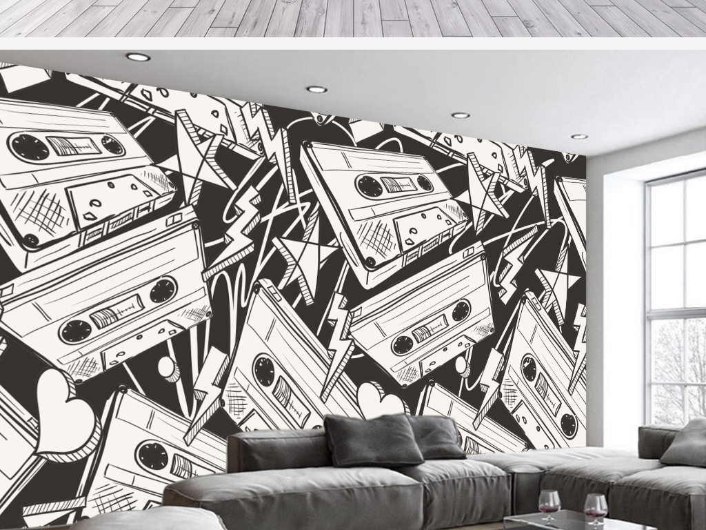 背景墙|装饰画 电视背景墙 手绘电视背景墙 > 欧式复古黑白收音机碟片