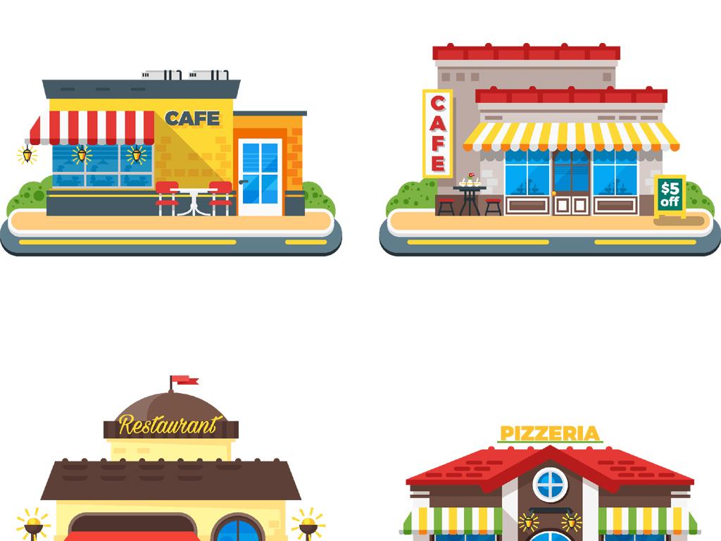 多种卡通店铺商店小卖部便利店图标矢量素材图片
