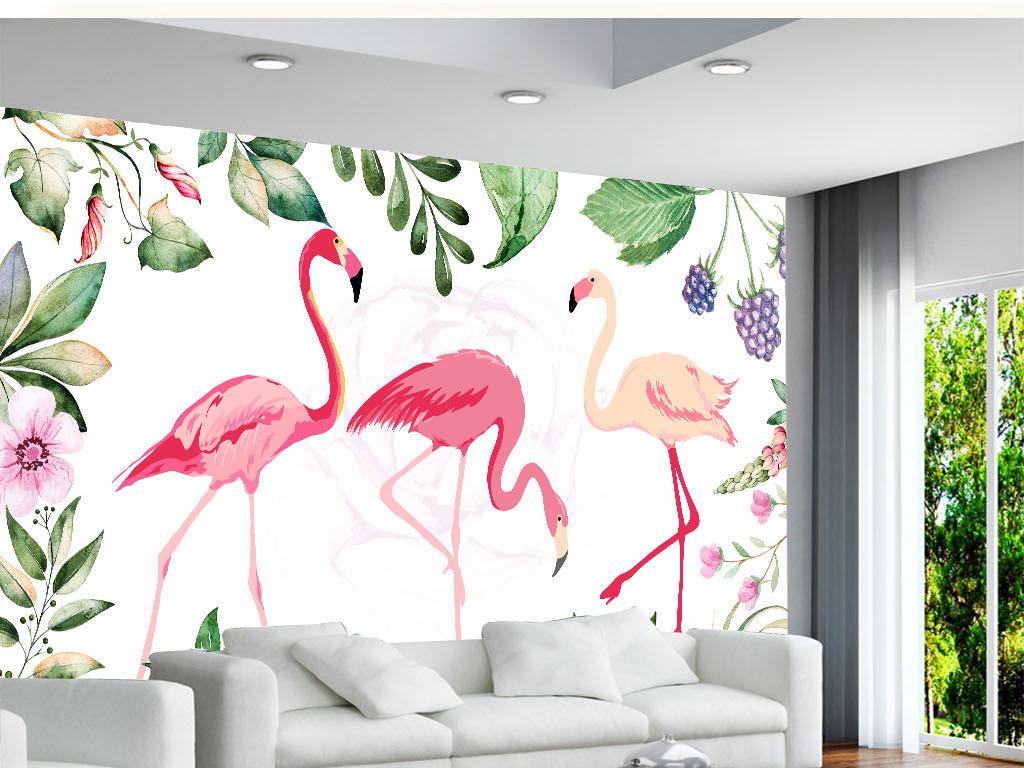 手绘小清新树叶火烈鸟背景墙