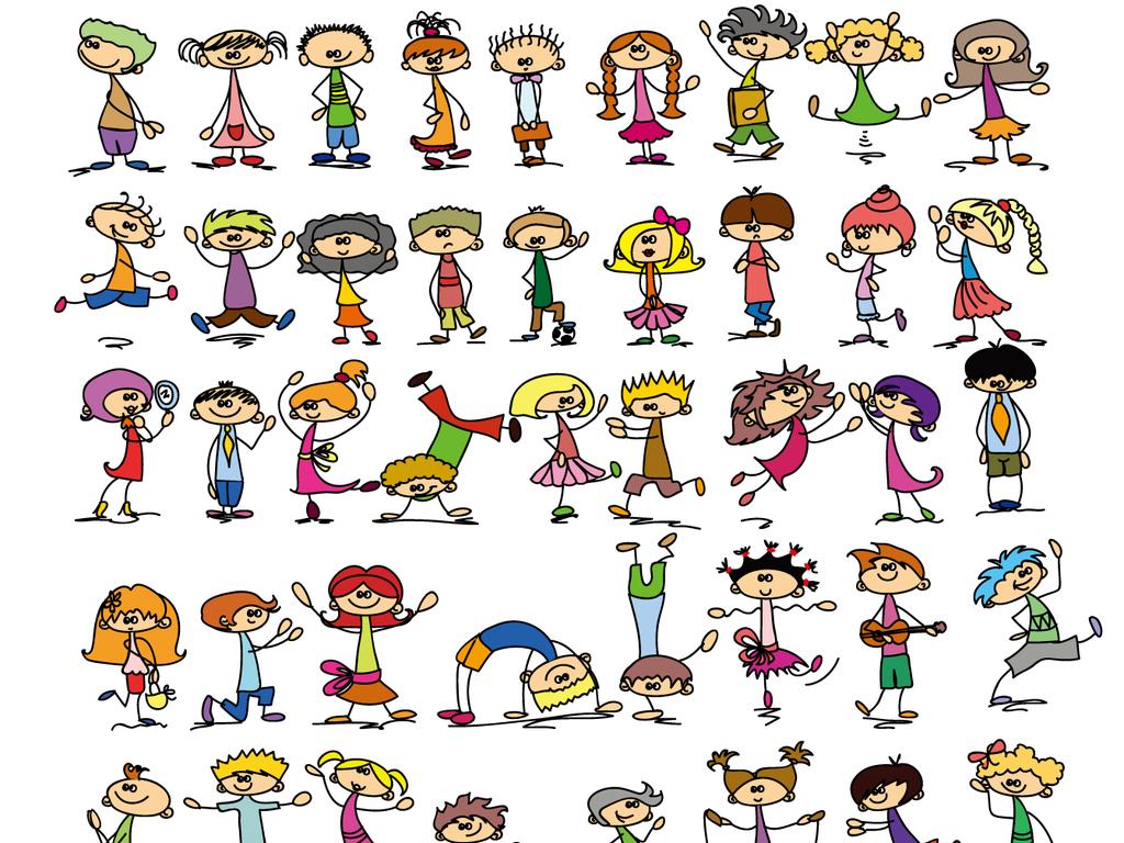设计元素 人物形象 儿童 > 手绘漫画风格小孩卡通儿童素材  素材图片