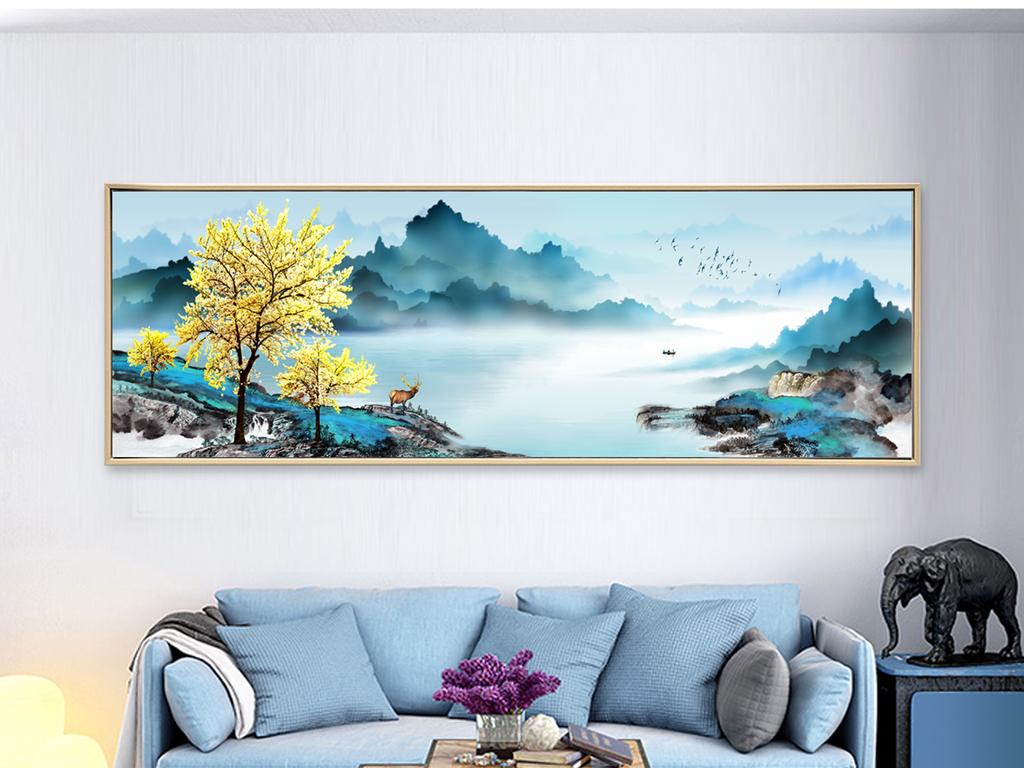 现代中国风水墨意境山水画无框画图片设计素材 高清psd模板下载 58.
