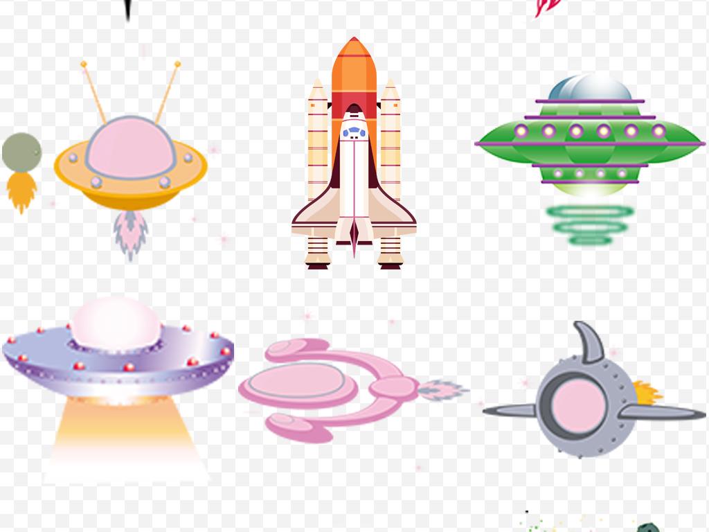 卡通手绘火箭飞行发射免抠png大全