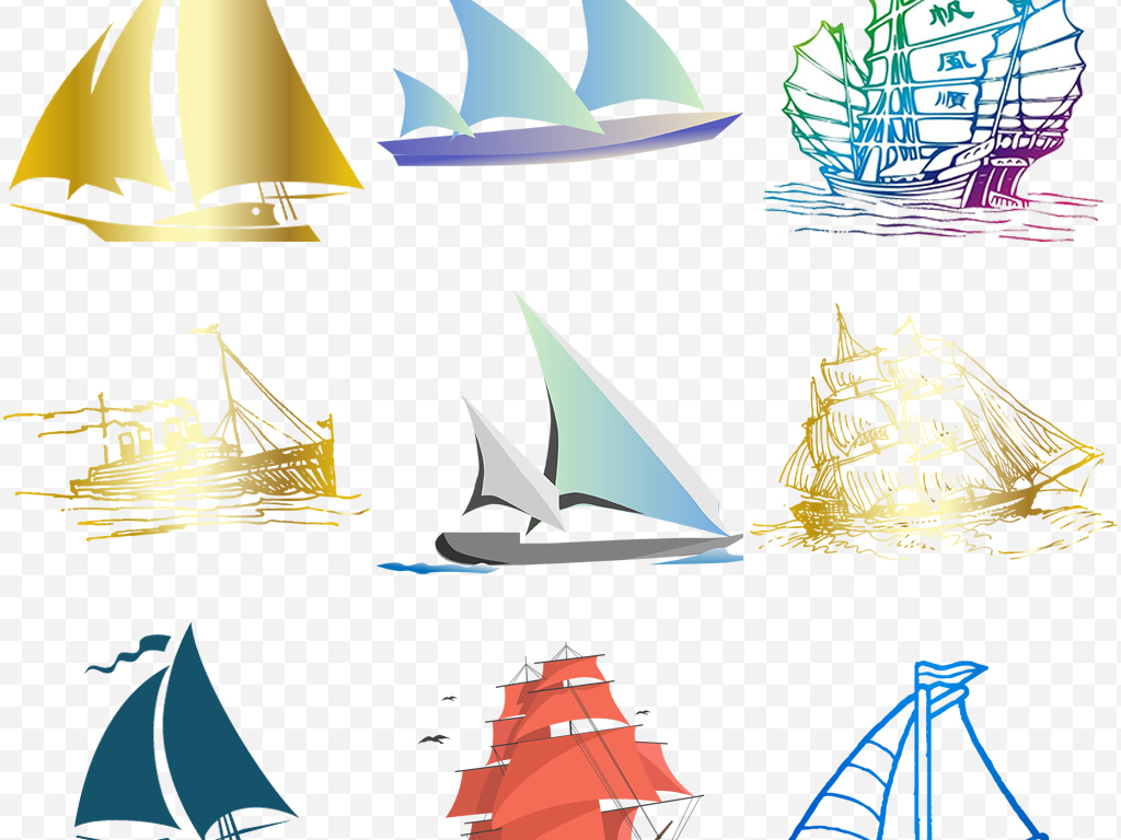 卡通手绘复古图案扬帆起航一帆风顺船帆素材