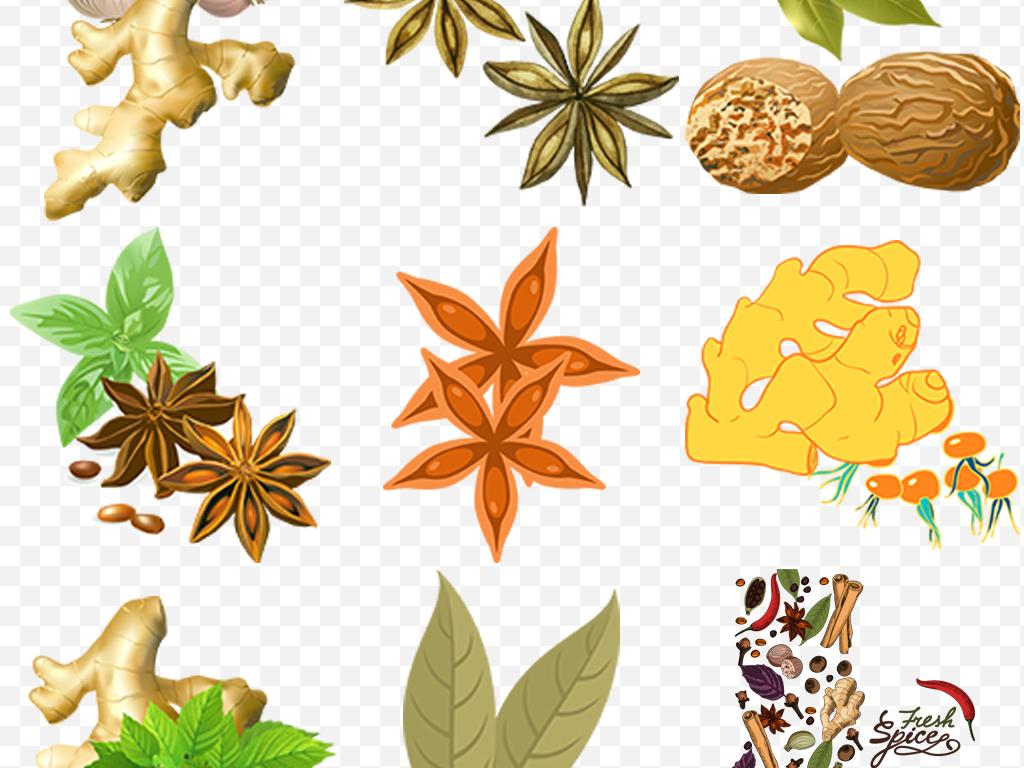 卡通手绘食品调料香草调料图案图标