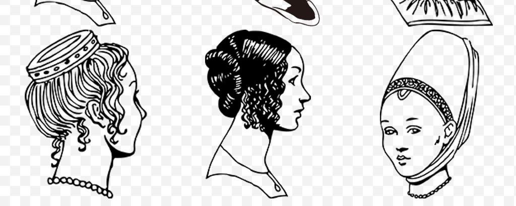 手绘线条美发店美丽女人女性发型头像剪影