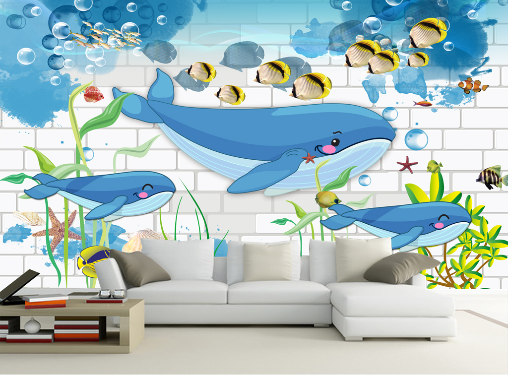 3d砖墙唯美卡通鲨鱼海底世界儿童房小孩房