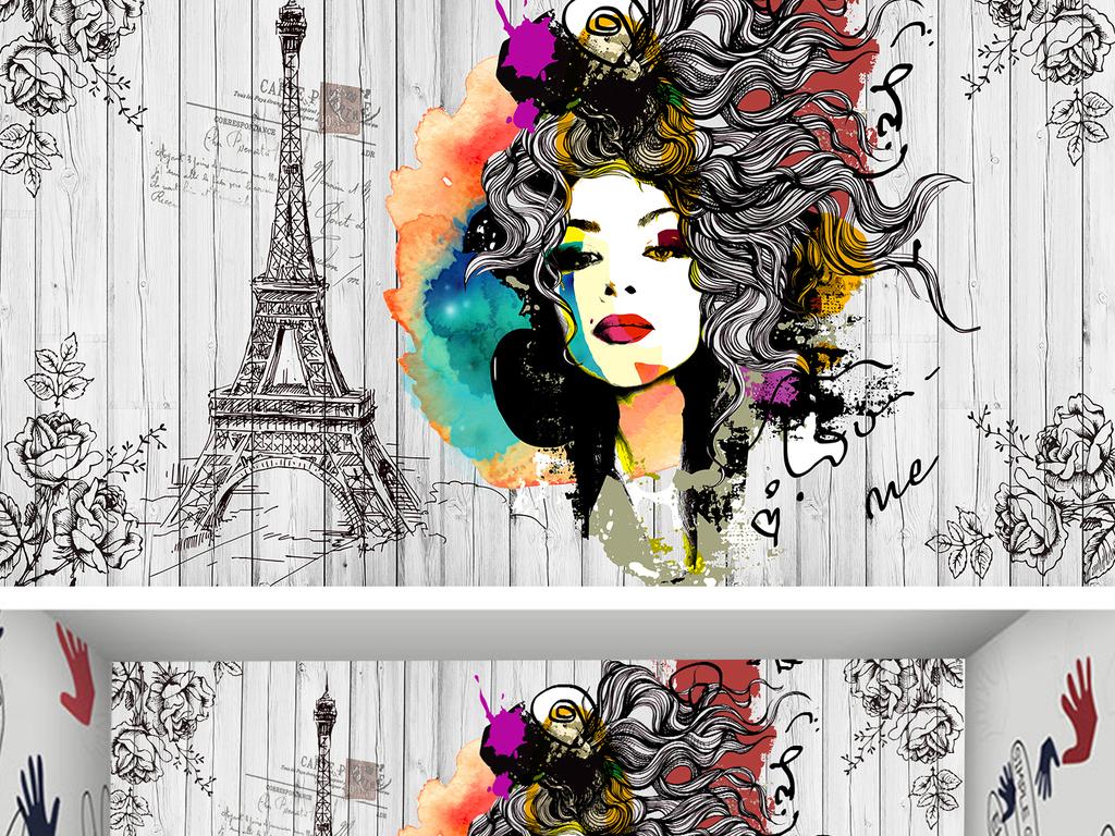 手绘酒吧ktv饭店化妆品美甲彩妆店背景墙图片设计素材