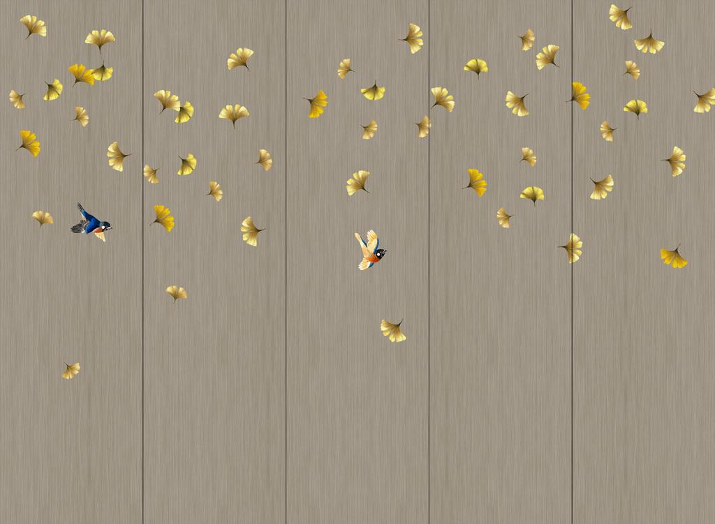 新中式手绘银杏叶硬包壁画