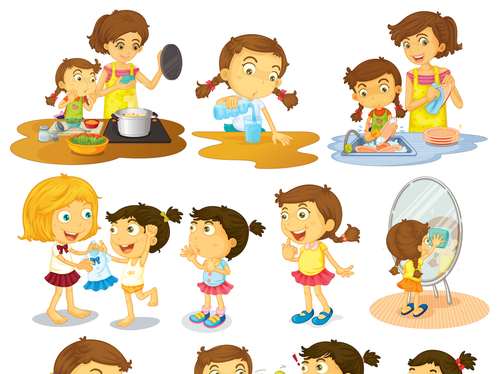 卡通小孩做家务矢量素材图片下载ai素材 儿童