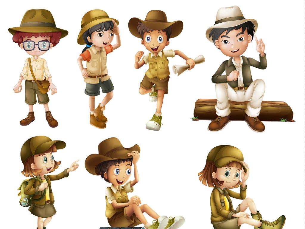 免抠元素 人物形象 儿童 > 卡通人物素材户外探险者  素材图片参数图片