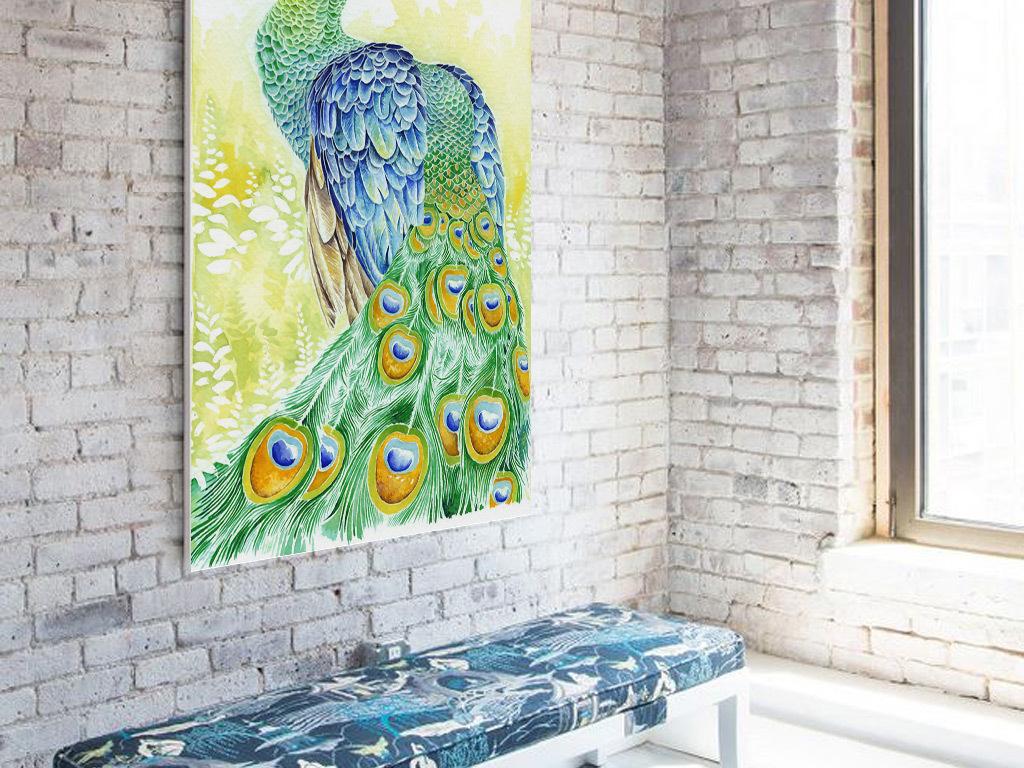 现代时尚手绘绿孔雀玄关背景墙装饰画