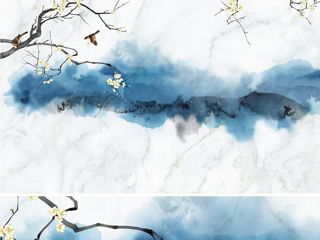 意境蓝韵水墨工笔画花鸟国画手绘抽象新中式鸟语花香大理石纹