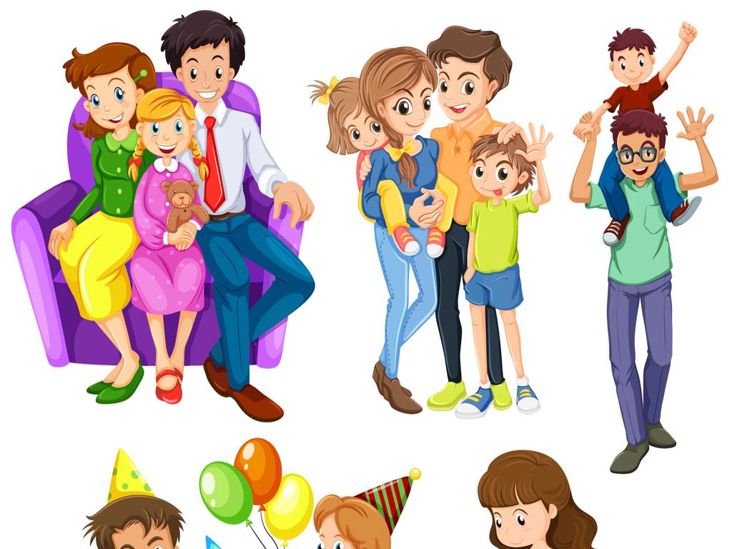 一家人卡通全家福矢量素材图片 ai模板下载 7.28MB 儿童大全 人物形象