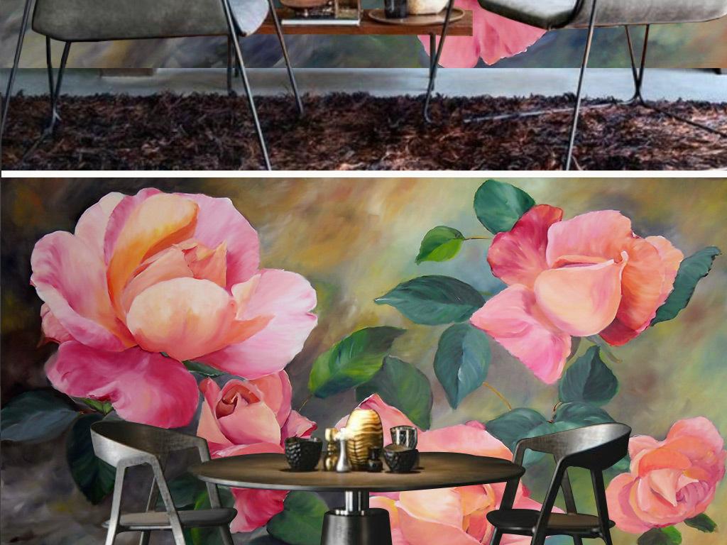 水彩手绘玫瑰花电视背景墙