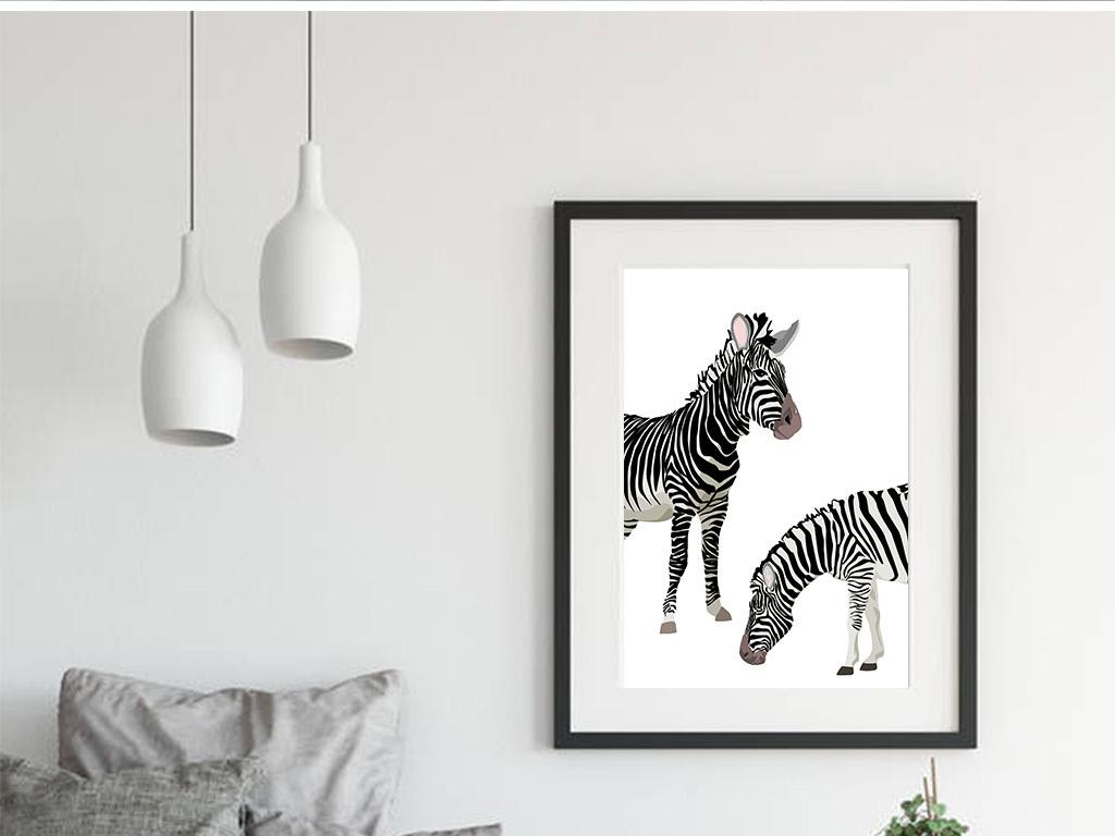 北欧简约黑白手绘斑马动物装饰画