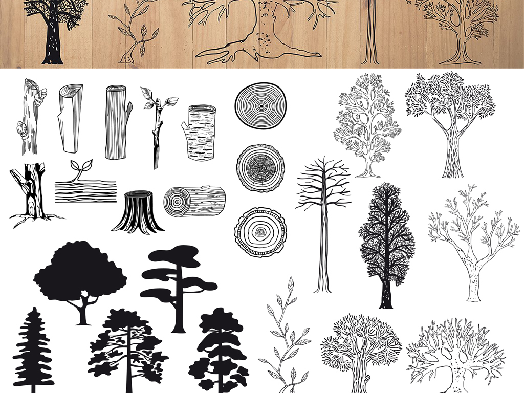 创意手绘木头树木剪影png设计素材