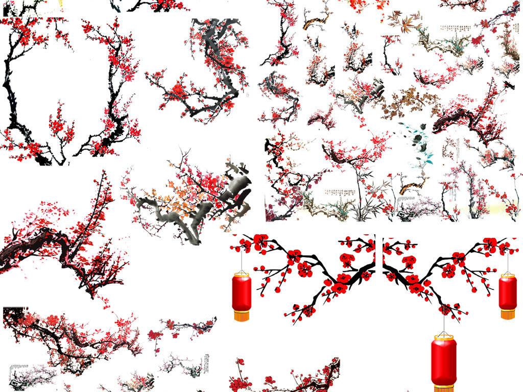 中国风水墨风梅花图片背景PNG素材图片