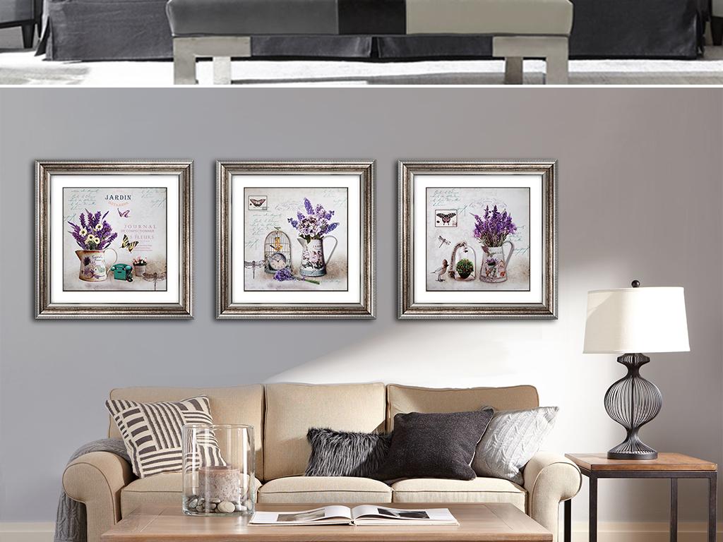 欧式简约手绘花卉花瓶插花美式风格装饰画