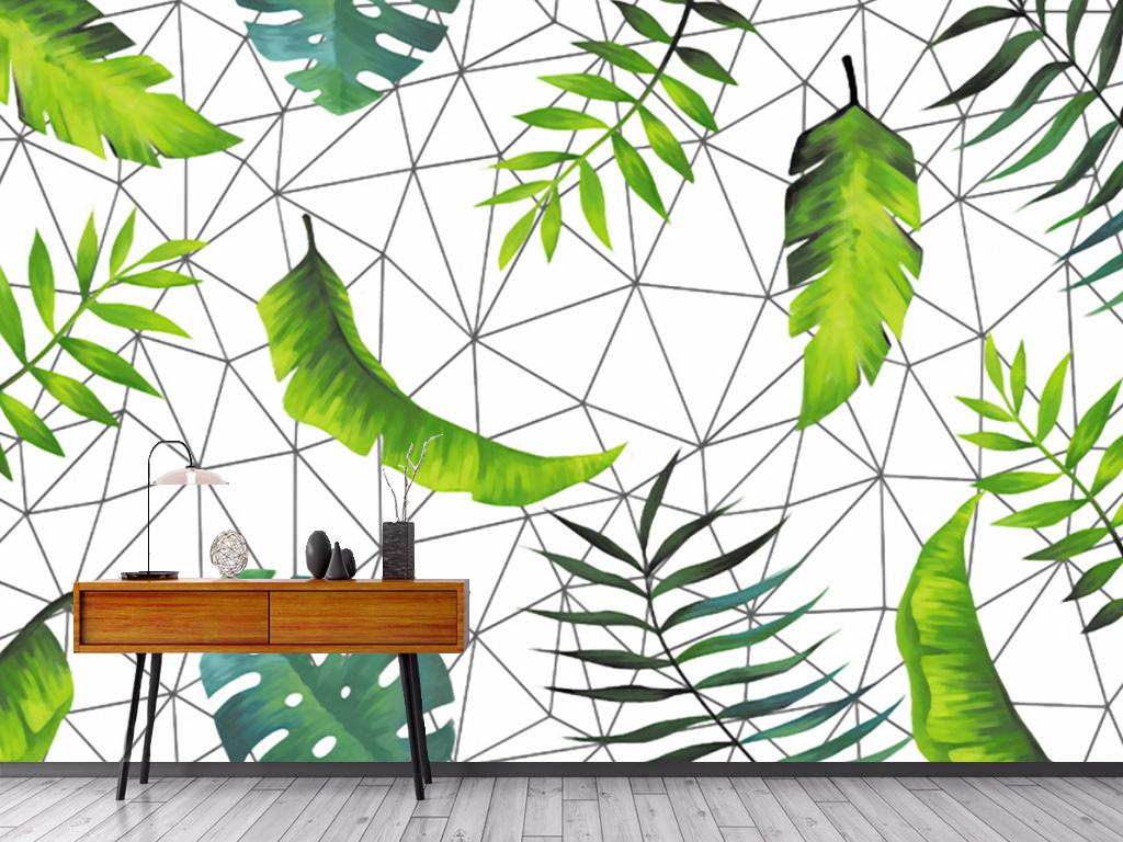 北欧手绘线条芭蕉叶装饰背景墙