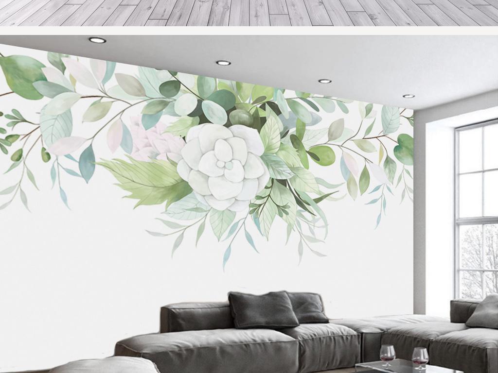 北欧手绘白玉兰花绿叶装饰背景墙