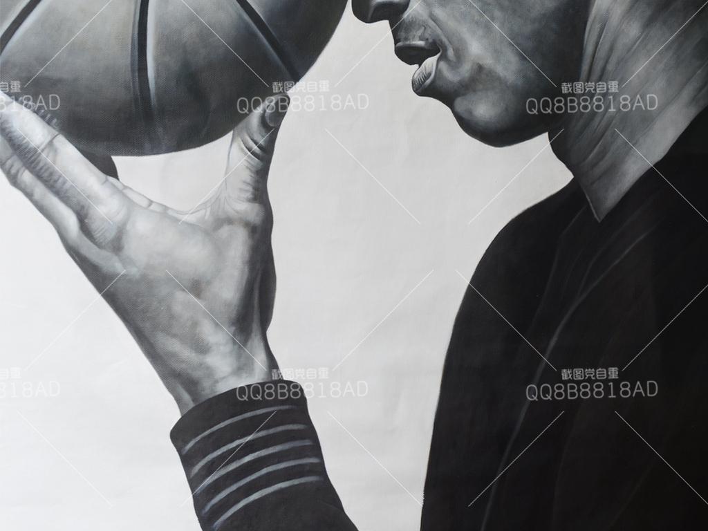 高画质油画篮球黑白人物艺术玄关