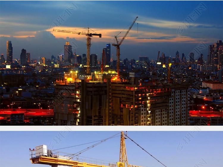 塔吊施工城市建设建筑施工延时摄影