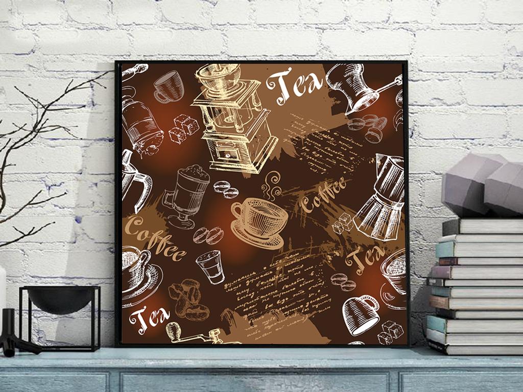 复古手绘咖啡图案咖啡厅装饰画无框画