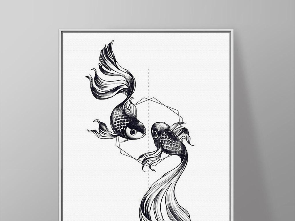 两只金鱼黑白手绘新中式欧式现代简约装饰画