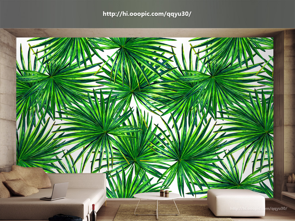 背景墙|装饰画 电视背景墙 手绘电视背景墙 > 北欧绿叶植物手绘背景墙