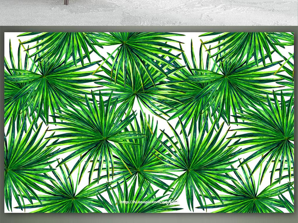北欧绿叶植物手绘背景墙