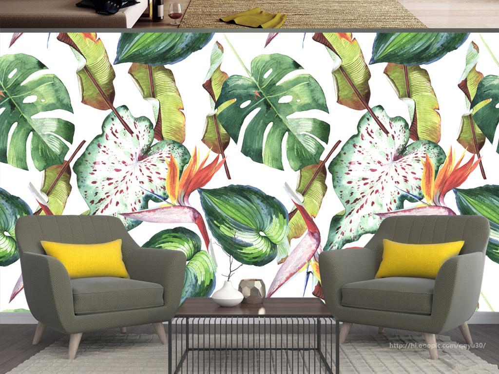 北欧热带植物花卉手绘背景墙